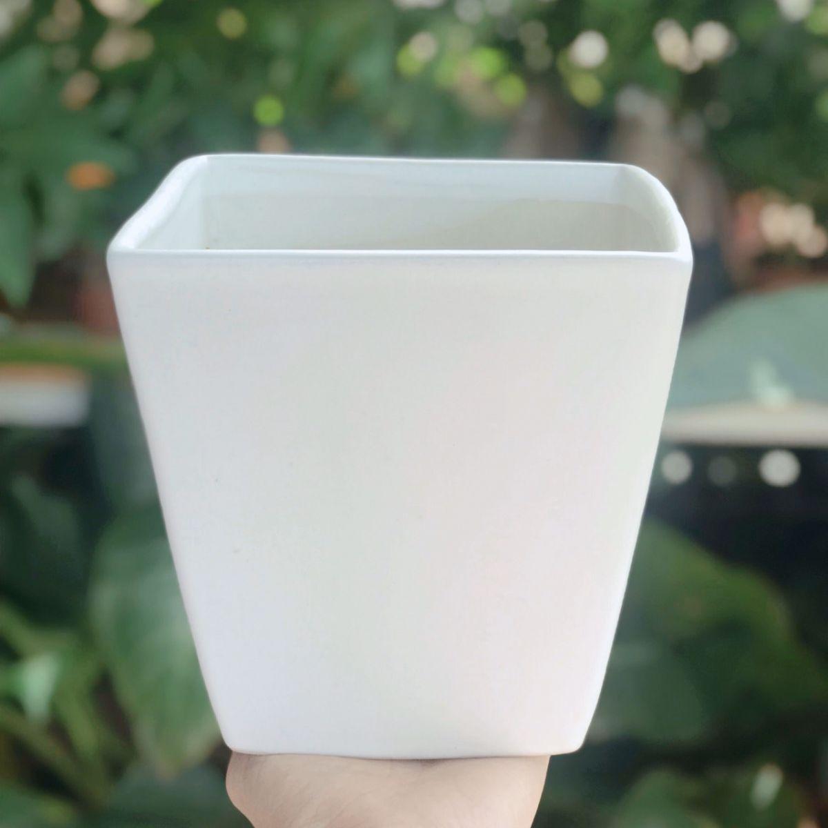 Chậu sứ men mát vuông vát trắng 15*15cm