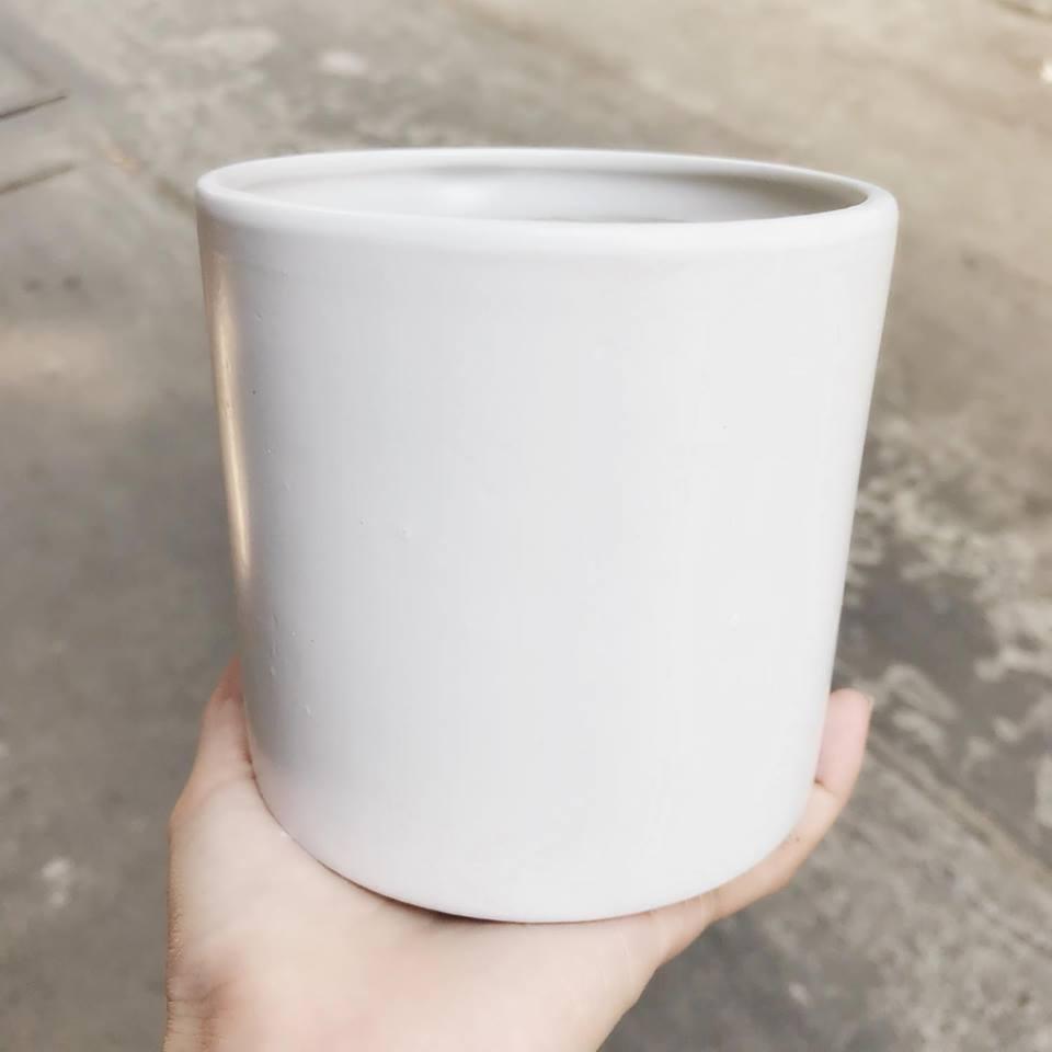 Chậu trụ trắng 10.5x10.5cm